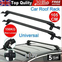 105CM Universal Lockable Aluminium Car Roof Rack Bars No Rail Anti Theft Carrier