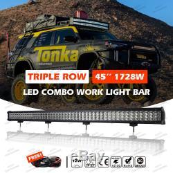 1728W 45 LED Combo Work Light Bar Offroad Driving Lamp 4WD UTV PICKUP 3-Rows