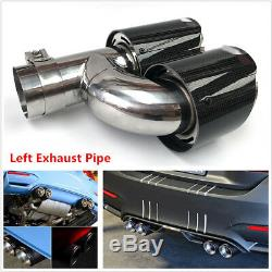1x 63mmIn 89mm Out Car Dual Pipe Left Exhaust Pipe Tail Muffler Tip Carbon Fiber