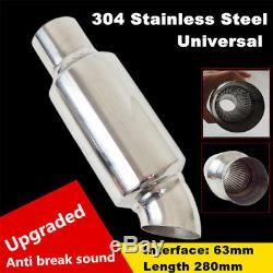 2.5inlet to 2.5outlet Car Muffler Exhaust Pipe Tip Universal Stainless Steel