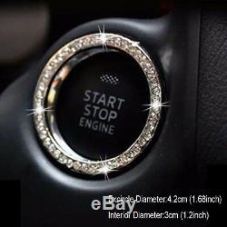 2pcs Auto Car Suv Decorative Accessories Car Button Start Switch Diamond Ring