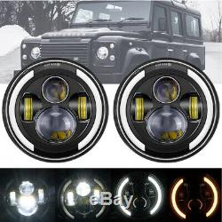 2x 7 Inch Approved LED Headlight for LAND ROVER DEFENDER TD4 TD5 90 110 UK