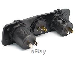 3 In 1 Car Van Boat Volt Meter Usb Port Cigarette Socket Switch Panel Mount Kit
