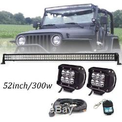 300W 52 LED Light Bar + 2pcs 4 18W PODS Spotlight for 07-15 Jeep Wrangler JK
