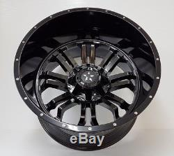 4 x 22 ALLOYS DLUX MONSTER 862 BLACK&POLISH HUM 8/165.1 ET-76 HUMMER H2, RAM