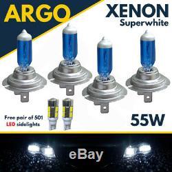 4 x H7 55W SUPER WHITE XENON UPGRADE HEADLIGHT BULBS SET HID 499 12V FULL/DIPPED
