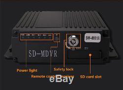 4CH Car Vehicle Bus School Bus Camera High D CCTV kit Recorder SD Card Remote
