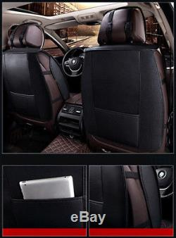 5-Seat PU Leather Car Seat Cover Full Set WithPillows Interior Accessories Deluxe