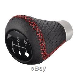 5 Speeds Leather Red Stitche Gear Stick Shift Knob Universal Manual Car Shifter