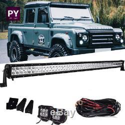 50 52 Inch Roof led light bar + 2x Pods + Wiring UTV Land Rover Defender SUV