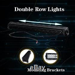 50 52 inch Curved led light bar+2XPODS +Wire Kit ATV UTV Upper Front Ford Jeep