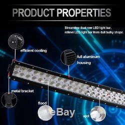 52 300W Curved LED Light Bar 2x 4 Spot Wiring Kit Pickup Offroad ATV 4WD Jeep