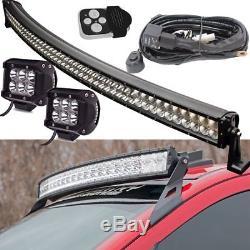 52 Curved LED Light Bar High Intensity Spot Lamp Kit For LANDROVER DEFENDER