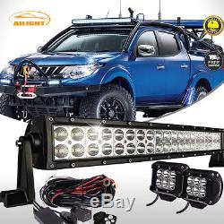 52 LED Light Bar High Intensity Combo Lamp + 2x 4 LED Pods For Mitsubishi L200