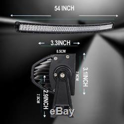 54Inch 312W 104 Led Lights Bar Spot Flood Combo curved Lamp UTE SUV ATV Offroad