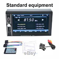 6.6''HD 2 Din Car Bluetooth MP5 Video Stereo Player Touch Screen&Rearview Camera