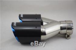 63mm 89mm Carbon Fiber Car SUV Dual Exhaust Pipe Tail Muffler Tip Chrome Blue 2X
