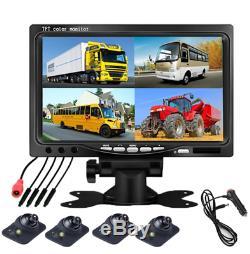 7'' Car Reverse parking monitor 4 split screen+4Pcs 170° HD Adjustable cameras