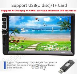 7'' Double 2DIN Car Radio Video Stereo Mirror Link GPS Navi +Cam For Android iOS