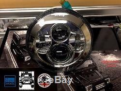 7 Inch LED HEADLIGHT PAIR Land Rover Defender DOT SAE E Approved CHROME 734C