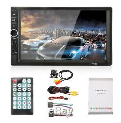 7Car Stereo Radio Double 2 DIN BTMP5 Player Touch Screen+Camera FM AUX