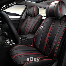 Black Microfiber Leather 5 Seat Car Seat Cover Full Set For Interior Accessories