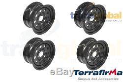 Black Modular 8x16 Steel Wheels x4 for Land Rover Discovery 2 Terrafirma GRW012
