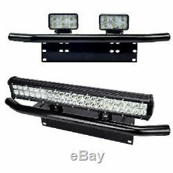 Car License Plate Frame Number Plate Bull Bar Bumper Mount Bracket LED Light