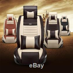 Deluxe Edition Beige PU Leather Car Seat Covers Front+Rear withNeck Lumbar Pillows