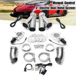 Dual 3'' 76mm Electric Exhaust Valve Catback Y-pipe Cutout Switch Manual