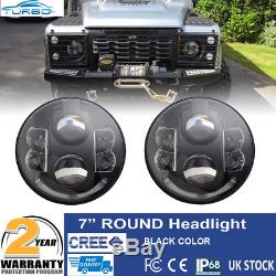 Land Rover Defender LED Headlight 7 DRL H4 Connectors x 2 Lamps E DOT Approved