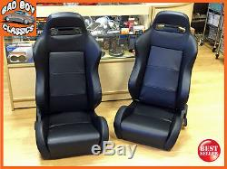 PAIR of BB3 Reclining Universal Bucket Sports Seats Black Ideal For LANDROVER