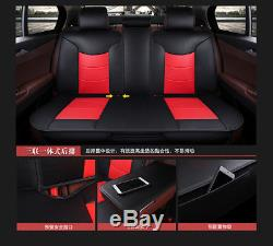 PU Leather+Microfiber Cushion Car Seat Covers Front&Rear Set of 5Seat Car Coffee