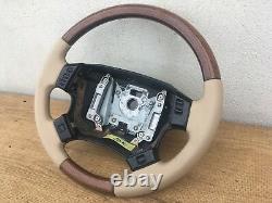 Range Rover P38 Walnut Steering Wheel Multi Functional & Lightstone Leather Tan