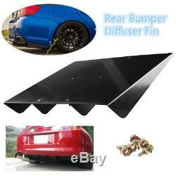 Universal 22x 19.3ABS Rear Bumper Lip 4Fins Diffuser Under Rear bumper Screws