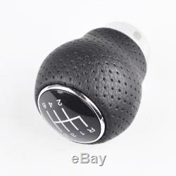 Universal 6-Speed Gear Shift Knob Aluminum Manual Leather Shifter Lever Black