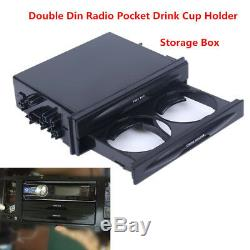 Universal Car Single/Double Din Radio Pocket Kit withDrink-Cup Holder Storage Box