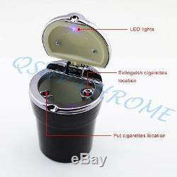 Vehicle Cigarette Ashtray Black Steel Lid Smoke Can LED Light Holder Accessories