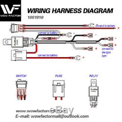 WOW Wiring Harness Switch Relay Kit for Connect 2 LED Work Driving Light Bar